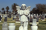 Angel statue in cemetery in Los Angeles, CA