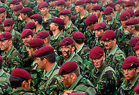Soldiers of the 5th Airborne Brigade in traditional berets, Salisbury, UK