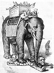 "Political cartoon by Nast. Republican elephant being driven by Uncle Sam stomping out corruption while carrying public school children on his back in a box reading ""The Public Schools, the ABC of the Republic."" Harper's Weekly, September 2, 1876 The Elephant walks around- and the ""Still Hunt"" is nearly over."
