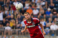 Austin Berry (22) of the Chicago Fire. The Chicago Fire defeated the Philadelphia Union 3-1 during a Major League Soccer (MLS) match at PPL Park in Chester, PA, on August 12, 2012.