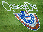 1 April 2013: Opening Day turf graphics adorn the infield during the Opening Day Game between the Miami Marlins and the Washington Nationals at Nationals Park in Washington, DC. The Nationals shut out the Marlins 2-0 to launch the 2013 season. Mandatory Credit: Ed Wolfstein Photo *** RAW (NEF) Image File Available ***