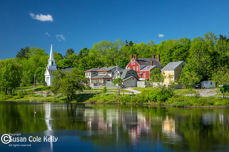 Village reflection in Orland, Maine, USA