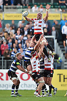 Tom Savage of Gloucester Rugby wins the ball at a lineout. West Country Challenge Cup match, between Bath Rugby and Gloucester Rugby on September 26, 2015 at the Recreation Ground in Bath, England. Photo by: Patrick Khachfe / Onside Images