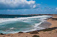Cliff views of the beaches near El Cotillo, Fuerteventura, Canary Islands, Spain.  <br /> Fuerteventura has a much rougher sea on its west coast compared to the calmer seas and golden beaches on the east coast.