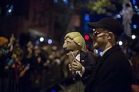 NEW YORK, NY - OCTOBER 31,2016. A man with a puppet of Donald Trump takes part in the Halloween celebrations held within 43rd annual Village Halloween parade in New York October 31, 2016 Photo by VIEWpress/Maite H. Mateo.