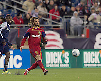 Second half substitute Real Salt Lake midfielder Kyle Beckerman (5) passes the ball. In a Major League Soccer (MLS) match, Real Salt Lake defeated the New England Revolution, 2-0, at Gillette Stadium on April 9, 2011.