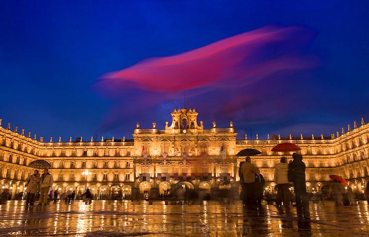 Plaza Mayor on a rainy night. Salamanca, Spain during Semana Santa (Holy Week)