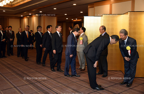January 5, 2016, Tokyo, Japan - Chairmans of Japans three major economic organizations welcome guests on the reception line during a New Year party the three mega groups co-hosted at the Imperial Hotel in Tokyo on Tuesday, January 5, 2016.  (Photo by Natsuki Sakai/AFLO) AYF -mis-