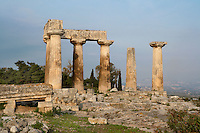 CORINTH, GREECE - APRIL 16 : A view from behind of the Temple of Apollo, on April 16, 2007 in Corinth, Greece. Standing prominently on a knoll the Temple of Apollo was built in the 7th century BC in the Doric Order. Seven of its original 38 columns remain standing and are seen here in the early morning light. It is one of the oldest temples in Greece. Corinth, founded in Neolithic times, was a major Ancient Greek city, until it was razed by the Romans in 146 BC. Rebuilt a century later it was destroyed by an earthquake in Byzantine times. (Photo by Manuel Cohen)