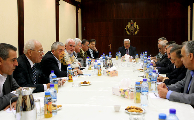 Palestinian President Mahmoud Abbas (Abu Mazen) during a meeting of the Central Committee of Fatah movement in the West Bank city of Ramallah on Oct. 19, 2010. Photo by Thaer Ganaim