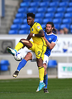 Peterborough United's Michael Bostwick (R) battles with Bristol Rovers' Ellis Harrison (L)<br /> <br /> Peterborough 4 - 2 Bristol Rovers<br /> <br /> Photographer David Horton/CameraSport<br /> <br /> The EFL Sky Bet League One - Peterborough v Bristol Rovers - Saturday 22nd April 2017 - ABAX Stadium - Peterborough <br /> <br /> World Copyright &copy; 2017 CameraSport. All rights reserved. 43 Linden Ave. Countesthorpe. Leicester. England. LE8 5PG - Tel: +44 (0) 116 277 4147 - admin@camerasport.com - www.camerasport.com