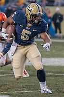 Pitt running back Chris James. The Pitt Panthers defeated the Syracuse Orange 30-7 at Heinz Field, Pittsburgh, Pennsylvania on November 22, 2014.