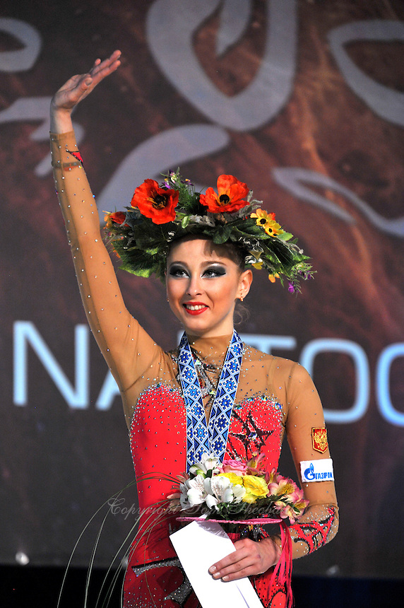 "DARIA KONDAKOVA of Russia celebrates ball Event Final win at 2011 World Cup Kiev, ""Deriugina Cup"" in Kiev, Ukraine on May 8, 2011."