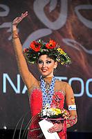 "DARIA KONDAKOVA of Russia celebrates ball Event Final win at 2011 World Cup Kiev, ""Deriugina Cup"" in Kiev, Ukraine on May 8, 2011."