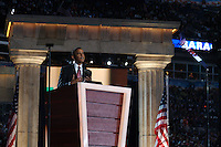 Sen. Barack Obama delivers his Democratic Presidential Nominee acceptance speech on Thursday, August 28, the Democratic National Convention, Invesco Field at Mile High Stadium, Denver Colorado.  Crowds can be seen in the stands at right.