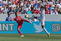 Carson, CA - Sunday, February 8, 2015: Gyasi Zardes (20) of the USMNT and Luis Ovalle (17) of Panama. The USMNT defeated Panama 2-0 during an international friendly at the StubHub Center