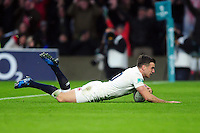 George Ford of England scores a try in the second half. Old Mutual Wealth Series International match between England and South Africa on November 12, 2016 at Twickenham Stadium in London, England. Photo by: Patrick Khachfe / Onside Images