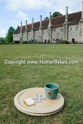 Hospital of St Cross &amp; Almshouse of Noble Poverty Winchester Hampshire England 2009. Since medieval times and today visitors can still receive the Wayfarer's Dole (a small beaker of beer and a morsel of bread).
