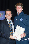 St Johnstone FC Youth Academy Presentation Night at Perth Concert Hall..21.04.14<br /> Chairman Steve Brown presents to Karl Quigley<br /> Picture by Graeme Hart.<br /> Copyright Perthshire Picture Agency<br /> Tel: 01738 623350  Mobile: 07990 594431