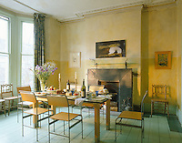The pastel painted informal dining room reflects artist Celia Lyttelton's subtle use of colour