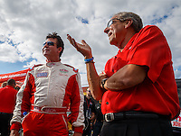 Sep 2, 2016; Clermont, IN, USA; Papa Johns pizza founder John Schnatter (left) with NHRA team owner Don Schumacher during qualifying for the US Nationals at Lucas Oil Raceway. Mandatory Credit: Mark J. Rebilas-USA TODAY Sports