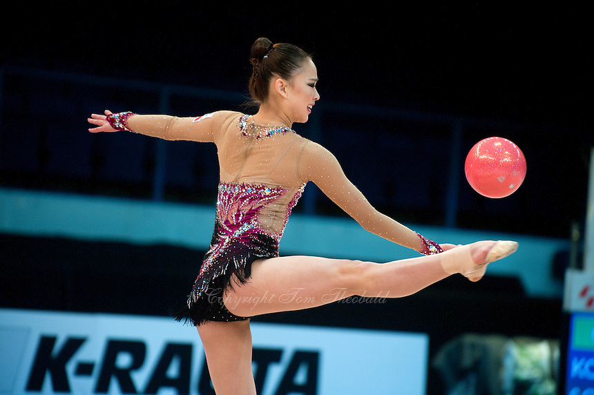 February 26, 2016 - Espoo, Finland - SON YEON-Jae of South Korea performs in All Around eventually taking silver at Espoo World Cup 2016.