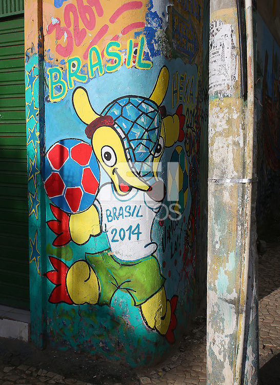 The 2014 FIFA World Cup mascot 'Fuleco' spray painted on a wall on a street in Salvador, one of the 12 host cities