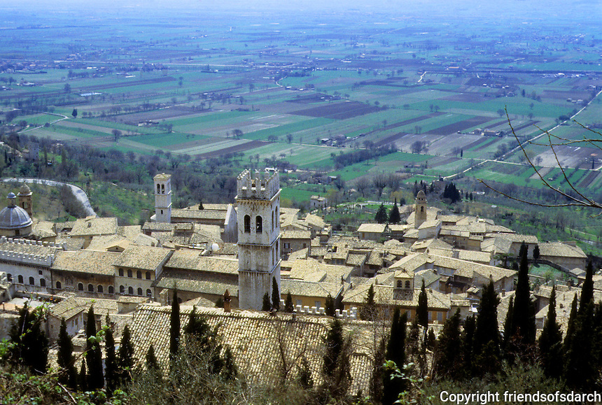 Italy: Assisi--Town viewed from fortress above.  Panorama. Photo '85.