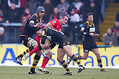 Nic Berry of London Wasps RFC upends Justin Melck of Saracens RFC - London Wasps RFC vs Saracens RFC - Aviva Premiership Rugby at Adams Park, Wycombe Wanderers FC - 12/02/12 - MANDATORY CREDIT: Ray Lawrence/TGSPHOTO - Self billing applies where appropriate - 0845 094 6026 - contact@tgsphoto.co.uk - NO UNPAID USE.