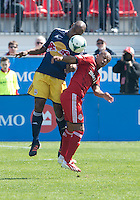 27 April 2013: Toronto FC forward Robert Earnshaw #10 and New York Red Bulls defender Jamison Olave #4 in action during the second half in an MLS game between the New York Red Bulls and Toronto FC at BMO Field in Toronto, Ontario Canada..The New York Red Bulls won 2-1....