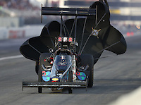 Nov 12, 2016; Pomona, CA, USA; NHRA top fuel driver Scott Palmer during qualifying for the Auto Club Finals at Auto Club Raceway at Pomona. Mandatory Credit: Mark J. Rebilas-USA TODAY Sports