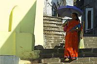 Mumbai, Banganga area women with colorful umbrella,India