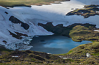 Cirque lake in high alpine environment in the Beartooth Mountains