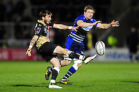 Benoit Paillaugue of Montpellier puts boot to ball. European Rugby Challenge Cup quarter final, between Sale Sharks and Montpellier on April 8, 2016 at the AJ Bell Stadium in Manchester, England. Photo by: Patrick Khachfe / JMP