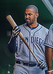 23 July 2016: San Diego Padres outfielder Matt Kemp inspects his bat prior to the start of play against the Washington Nationals at Nationals Park in Washington, DC. The Nationals defeated the Padres 3-2 to tie their series at one game apiece. Mandatory Credit: Ed Wolfstein Photo *** RAW (NEF) Image File Available ***