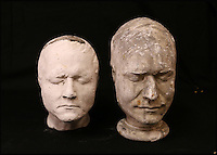BNPS.co.uk (01202 558833)<br /> Pic: ThomsonRoddick/BNPS<br /> <br /> 19th century plaster death mask head of a man, by J. DeVille sold for &pound;1,350.<br /> <br /> These disturbing Victorian plaster cast heads of notorious criminals are a far cry from today's bland mugshots of lowlifes.<br /> <br /> Two of the heads have been identified as Benjamin Courvoisier, a serial killer in the mould of Jack the Ripper, and coachman Daniel Good who mutilated his pregnant mistress. <br /> <br /> In total, nine heads were discovered at an outbuilding at a rural home just outside Penrith, Cumbria, which have now fetched almost &pound;40,000 at auction. <br /> <br /> Experts predicted the collection of heads would sell for &pound;2,000  but Courvoisier's head alone went for &pound;20,000.<br /> <br /> Two of the heads were made by the famous British exponent of phrenology, James De Ville, who built a private museum of more than 5,000 specimens.