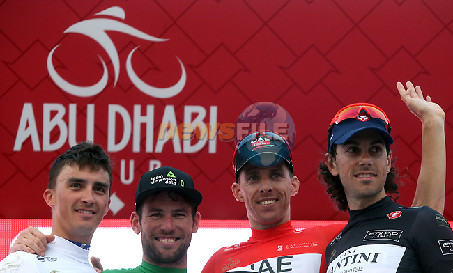 Julian Alaphilippe (FRA) Quick-Step Floors, Mark Cavendish (GNR) Dimension Data, Rui Coata (POR) UAE Abu Dhabi and Marco Canola (ITA) Nippo-Vini Fantini on the podium at the end of Stage 3 Al Maryah Island Stage of the 2017 Abu Dhabi Tour, starting at Al Ain and running 186km to the mountain top finish at Jebel Hafeet, Abu Dhabi. 25th February 2017<br /> Picture: ANSA/Matteo Bazzi | Newsfile<br /> <br /> <br /> All photos usage must carry mandatory copyright credit (&copy; Newsfile | ANSA)