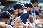 31 May 2016: Nova Southeastern dugout. The Nova Southeastern University Sharks played the Lander University Bearcats in Game 8 of the 2016 NCAA Division II College World Series  at Coleman Field at the USA Baseball National Training Complex in Cary, North Carolina. Nova Southeastern won the game 12-1.
