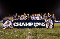 The United States poses with the trophy after  the finals of the CONCACAF Men's Under 17 Championship at Catherine Hall Stadium in Montego Bay, Jamaica. The United States defeated Canada, 3-0, in overtime.