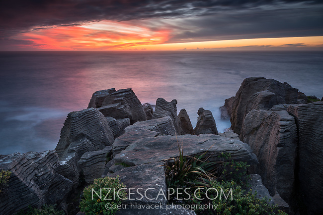 West Coast unset on Pancake Rocks, limestone formations in Punakaiki, Paparoa National Park, Buller Region, West Coast, New Zealand, NZ