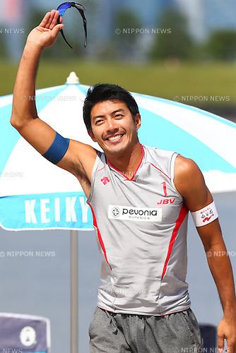 Shinya Hata,<br /> SEPTEMBER 21, 2015 - Beach Volleyball : <br /> JBV Tour 2015 Tokyo Open<br /> Men's Semi-Final<br /> at Odaiba Beach, Tokyo, Japan.<br /> (Photo by Shingo Ito/AFLO SPORT)