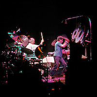 Bill Kreutzmann & Mickey Hart, Drum Set. The Grateful Dead in Concert at the Brendan Bryne Arena, East Rutherford NJ, on April 1st 1988. View from stage left, level with stage.