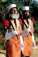 July, 1980, Aubagne, France. Headquarters of the 1st Regiment of the French Foreign Legion. Here are two famous pioneers while the orchestra is practising.