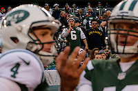 Fans reacts to New York Jets players as their team lost against Buffalo Bills, during their NFL game at MetLife Stadium in New Jersey. 09.05.2014. VIEWpress