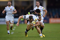 James Short of Exeter Chiefs is tackled by Matt Banahan of Bath Rugby. West Country Challenge Cup match, between Bath Rugby and Exeter Chiefs on October 10, 2015 at the Recreation Ground in Bath, England. Photo by: Patrick Khachfe / Onside Images