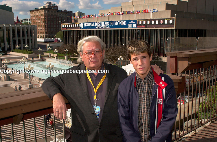 August 31 2003  Montreal, Quebec, Canada<br /> <br /> Antonio Mercero (L),  winner Best Director at the<br />  2003 Montreal World Film Festival, for his movie<br />  PLANTA 4a ( 4th Floor -  Quatri&Euml;me &Egrave;tage))<br />  pose for an exclusive photo, with the main actor of the movie ; Juan Balestra<br /> <br /> She is an ordinary schoolgirl choosen among 1500 others of an ethnic minority, for the main role in the first Chinese independant film on ethnic HANI tribe<br /> <br /> The Festival runs from August 27th to september 7th, 2003<br /> <br /> <br /> Mandatory Credit: Photo by Pierre Roussel- Images Distribution. (&copy;) Copyright 2003 by Pierre Roussel <br /> <br /> All Photos are on www.photoreflect.com, filed by date and events. For private and media sales