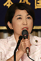 June 8, 2010 - Tokyo, Japan - Mizuho Fukushima, Leader of Social Democratic Party of Japan, answers journalists questions during a press-conference hold at the Foreign Press Correspondent of Japan in Tokyo, June 8, 2010. Fukushima was dismissed last month after refusing to sign on to the U.S.-Japan agreement on the relocation of Futenma U.S. Marine base.
