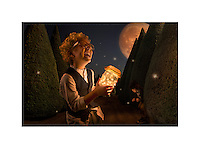A boy holding a jar full of dreams/fireflies/fairies on a night with a full moon.