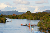 The villagers in the lake region of Sentarum earn 80% of their income from fishing and pisciculture. Apiculture is important.  Every family in the village of Leboyan owns many tikungs.///Les villageois de la région des lacs de Sentarum vivent à 80% de la pêche et de la pisciculture. L'apiculture est importante.  Chaque famille du village de Leboyan possède de nombreux tikung.