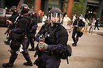 The Republican Convention 2008: Police forces confront protesters near the Xcel Energy Center. St. Paul, Minnesota, September 2, 2008.